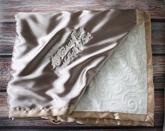 Minky Blanket, satin and minky, soft blanket, adult blanket, large minky blanket, gold blanket, wedding gift, wedding blanket, anniversary