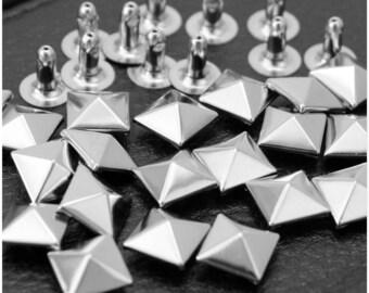 50pcs 5mm/6mm/7mm/8mm/10mm Nickel Pyramid RIVETS Rapid Rivets Studs Conical Punk Rock