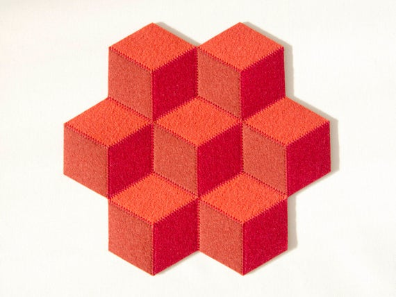 Small table mat / wool felt / orange and red / wool felt mat / stylish table mat / handmade / made in Italy