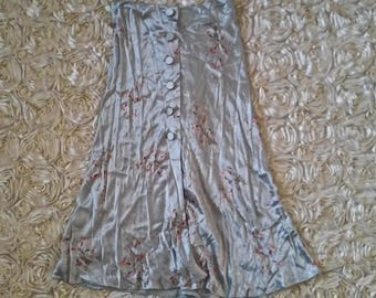 Vintage AGNES B. Silk Floral Button Down Skirt Size 42