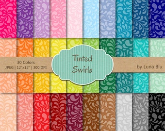 """Floral Digital Paper pack: """"Tinted Swirls"""" teardrop, floral scrapbook paper, digital paper bundle, set of 30, commercial use, mega pack"""