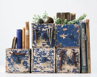 Vintage Hardware Drawers, Old Blue Wooden Drawers, Set of 5