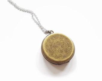 SALE Locket Necklace -Vintage Antique Bronze Locket Silver Necklace Bridesmaid Locket Necklace -Mixed Metal Locket NecklaceBridesmaid Locket