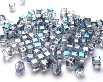 Blue Crystal silver AB 4mm glass beads 20