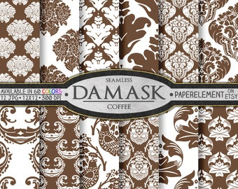 Coffee Brown Damask Digital Paper Pack: Coffee Damask Paper, Mocha Damask Digital Graphics, Damask Scrap Book Paper, Damask Scrapbook Pages