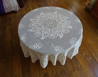Antique French Fine Lace Circular Tablecloth