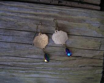 Nasturtium leaf earrings, Dangle earrings, Chandelier earrings, Tear shape earrings, Art Nouveau jewelry, Art Deco jewelry, Bronze jewelry