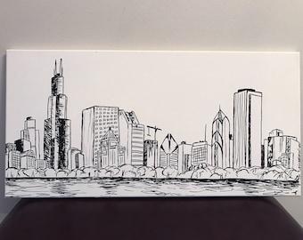 Chicago Skyline Sharpie Painting