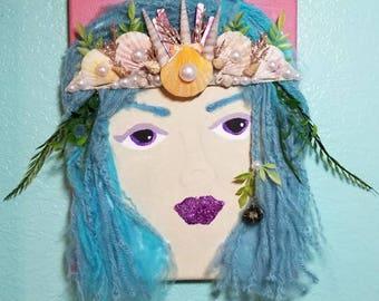 Mermaid portrait, mermaid crown, mermaid