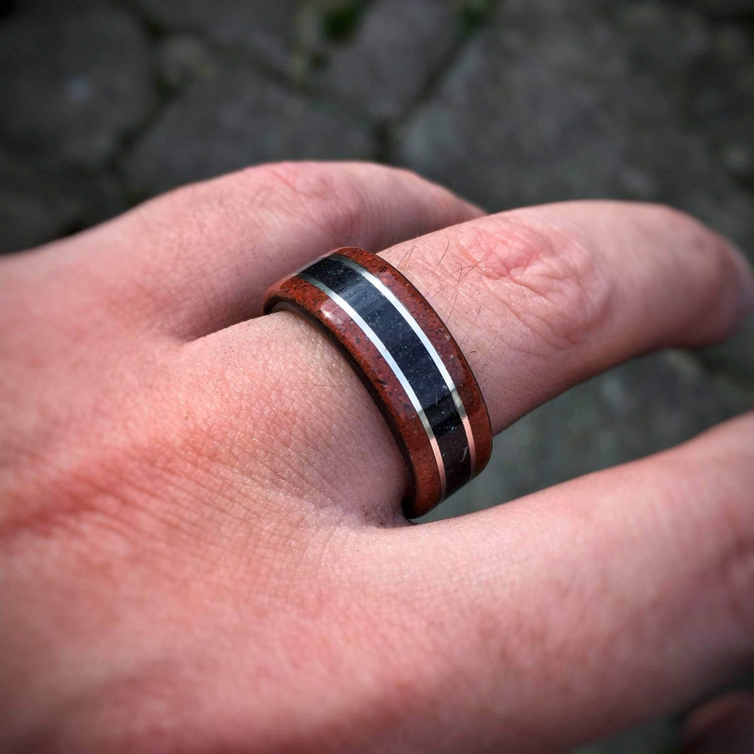 Seafire - Crushed Red Opal, Silver & Fossilized Shark Tooth Band ...