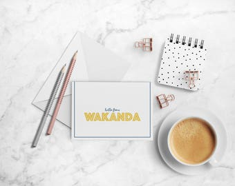 Hello from Wakanda Note Card Set, Black Panther-inspired A2 Folded Cards