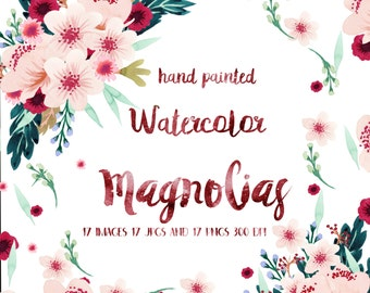 Pink Magnolias: Spring Flowers, Floral Clip Art, Watercolor Flower Clip Art, Handpainted Graphics, Floral Elements, Instant Download