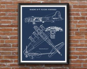 """B-17 Blueprint, Aircraft Blueprint, Instant Download, Boeing B17 Wall Art, Blueprint Art, Flying Fortress blue print, Wall Art, 8x10, 11x14"""""""