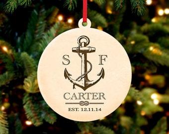 Personalized Christmas Ornament ~ Nautical Anchor- Christmas Gift, First Christmas, Housewarming, Anniversary, Wedding Gift