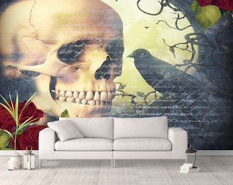 Wall Mural,  Gothic Skull Wall Paper, Wall Art, Day Of The Dead , Crow, Skulls , Roses