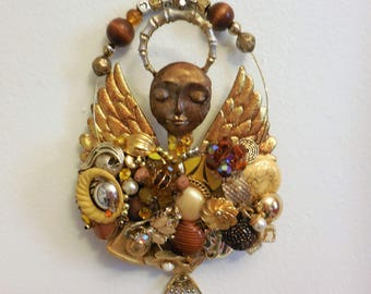 Guardian Angel Gift, Angel Art, Topaz, Citrine, Amber Gems, Hope Gift, ArtysAngels, Angel Wall Art, Angel Wings Gift, Support Angel, Artdoll