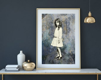Sullen Girl of The Moon Digital Collage Altered Art Boho Decor Printable Wall A4 Print Instant Download JPEG Vintage Shabby Poster Mural