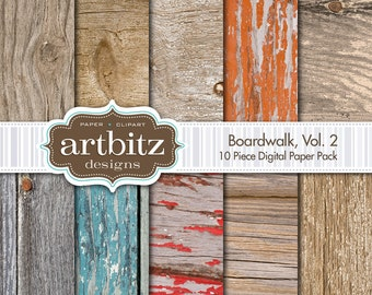 "Boardwalk, Vol. 2, 10 Piece Wood Texture Digital Scrapbooking Paper Pack, 12""x12"", 300 dpi .jpg, Instant Download!"