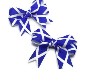 Scotland hair bows ~ Pack of 2 Scottish hair clips ~ Scotland hair clips ~ Scottish Hair bows ~ Scottish girls gifts ~ Scotland hair ribbons