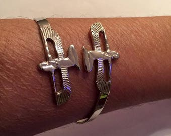 Unique Hand Made Egyptian Adjustable  Silver Brass Goddess Isis  Bracelet 8'' Made In Egypt