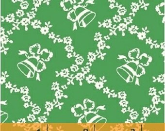 Storybook Christmas - Lattice with Bells in Green - Holiday Cotton Quilt Fabric - Whistler Studios - Windham Fabrics - 41746-2 (W4259)