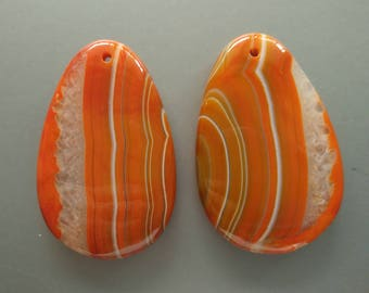 As Pictured- 2pcs -Large Orange Teardrop agate Pendant 35x55mm- #1025021
