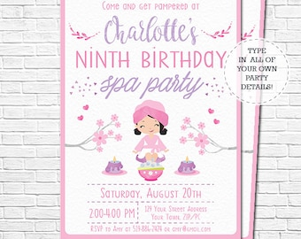 Spa Party Invitation - Spa Birthday Invitation - Black Hair - Pamper Party Invitation - watercolor - Download & Personalize in Adobe Reader