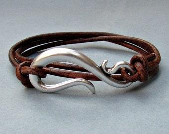 Silver Hook Mens Leather Bracelet Cuff Mens Nautical Wrap Bracelet Adjustable