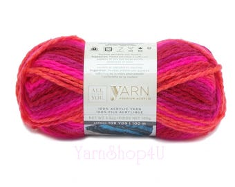 BRIGHT POP Ombre Bulky Yarn. All Things You Premium. Same as Charisma Bright Pop! Pink, Red, Coral Yarn. 3.5oz 109yds. Soft Bulky Variegate