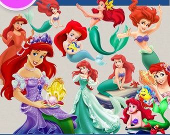 PRINCESS ARIEL, the little mermad clipart png Images, Digital Cliparts, Stickers, Decals, Png file, Transparent Backgrounds, digital print