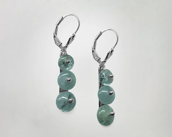 Unique handmade one-of-a-kind lever back Sterling Silver and Aquamarine pendant Earrings made in our own workrooms