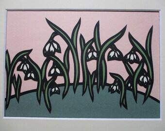 "8x10"" Art Nouveau Snowdrops Paper Cutting  Handmade, Spring Flowers"