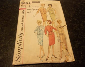 Vintage Misses' Women's Cardigan Suit Simplicity 4554 Slenderette Sewing Pattern Size 40 Bust 42 Women's Clothing Winter Dress Pattern
