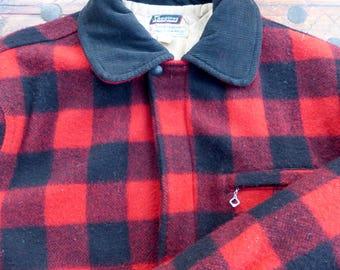 1960's Skagway Red Buffalo Plaid Wool Coat