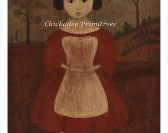 Primitive Folk Art Girl Portrait Evelyn