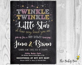 Printable invitation baby shower etsy twinkle twinkle little star baby shower invitation chalkboard background do it yourself printable invitations digital file solutioingenieria Gallery