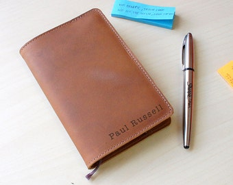 Handmade Moleskine Notebook Leather Cover - Tan (FREE PERSONALIZATION)