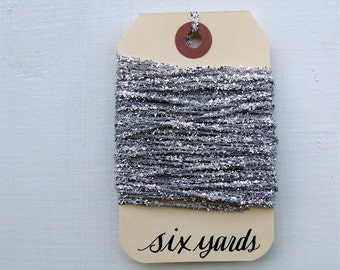 Silver Tinsel String, 6 Yards of Shiny Sparkle Metallic Twine for Paper Crafts, Holiday Trim, Glitter Ribbon Gift Wrapping