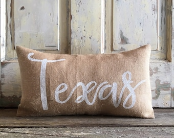 Pillow Cover | Burlap Pillow| Choose your State | State pillow | Texas pillow | Hostess Gift, Housewarming, Wedding, Moving Gift