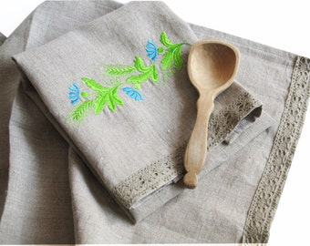 Natural Linen Tea Towel, Embroidered Floral Hand Towel, Handmade, Ethnic Pattern, Grey, 100% Pure Linen Guest Towel, Eco-friendly Gift