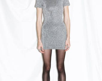 Vintage 90s Silver Tinsel Body Con Mini Dress / XS-S