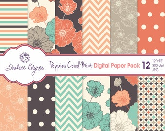 Digitale Papier Pack, Koralle Marine Mint Mohn, 12 x 12-sofort-Download