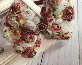 Burgundy floral shabby bow headband