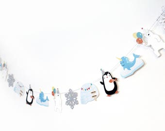 Arctic Party - Garland | Arctic Animals, Penguin, Polar Bear, Narwhal, Igloo, Snowflake | Winter Party | Winter Theme | Party Animal Garland