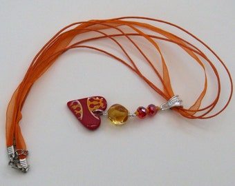 Sun Goddess Necklace - orange, yellow, polymer heart, artisan, lampwork, crystals, necklace