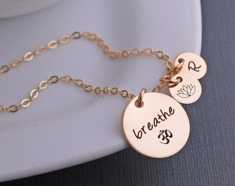Gold Breathe Necklace, Just Breathe Om Jewelry, Yoga Necklace, Yoga Gift, Inspirational Jewelry, Wellness Jewelry, Spiritual Gift