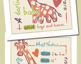 Giraffe Birth Sampler – a modern counted cross stitch chart for baby's birth. Boy and Girl version included.  English or French version.