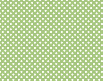 "Green Small Dots 1/4"" by Riley Blake Designs - White on Green polka dots- Quilting Cotton Fabric - choose your cut"