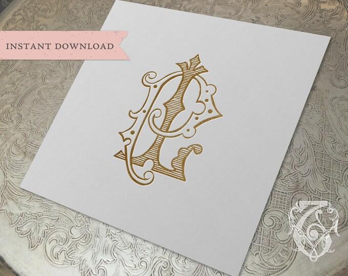 Vintage Wedding Monogram LP PL Digital Download L P