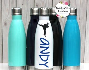 Karate Stainless Steel Water Bottle; Martial Arts Water Bottle; Taekwondo Water Bottle; Karate Sensei Water Bottle; Belt Testing Gift